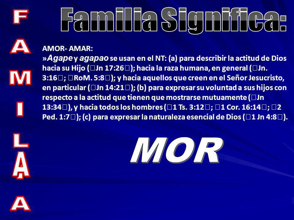 AMOR- AMAR: » Agape y agapao se usan en el NT: (a) para describir la actitud de Dios hacia su Hijo (Jn 17:26); hacia la raza humana, en general (Jn. 3