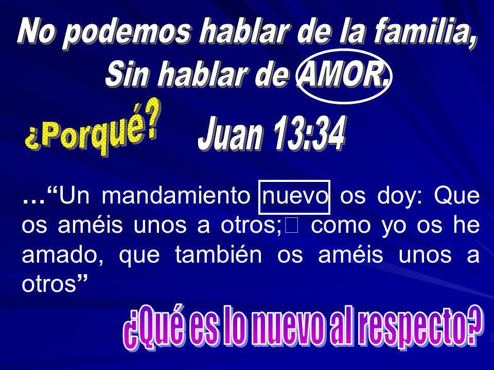 …Un mandamiento nuevo os doy: Que os améis unos a otros; como yo os he amado, que también os améis unos a otros