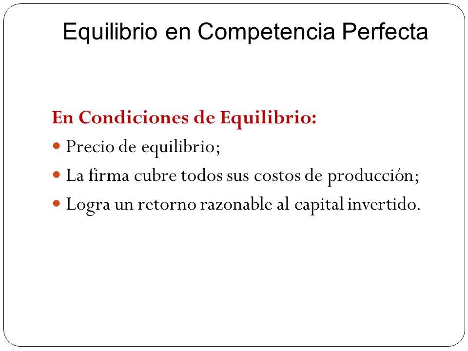 Equilibrio en Competencia Perfecta En Condiciones de Equilibrio: Precio de equilibrio; La firma cubre todos sus costos de producción; Logra un retorno
