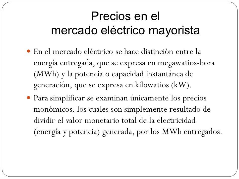 Precios en el mercado eléctrico mayorista En el mercado eléctrico se hace distinción entre la energía entregada, que se expresa en megawatios-hora (MW