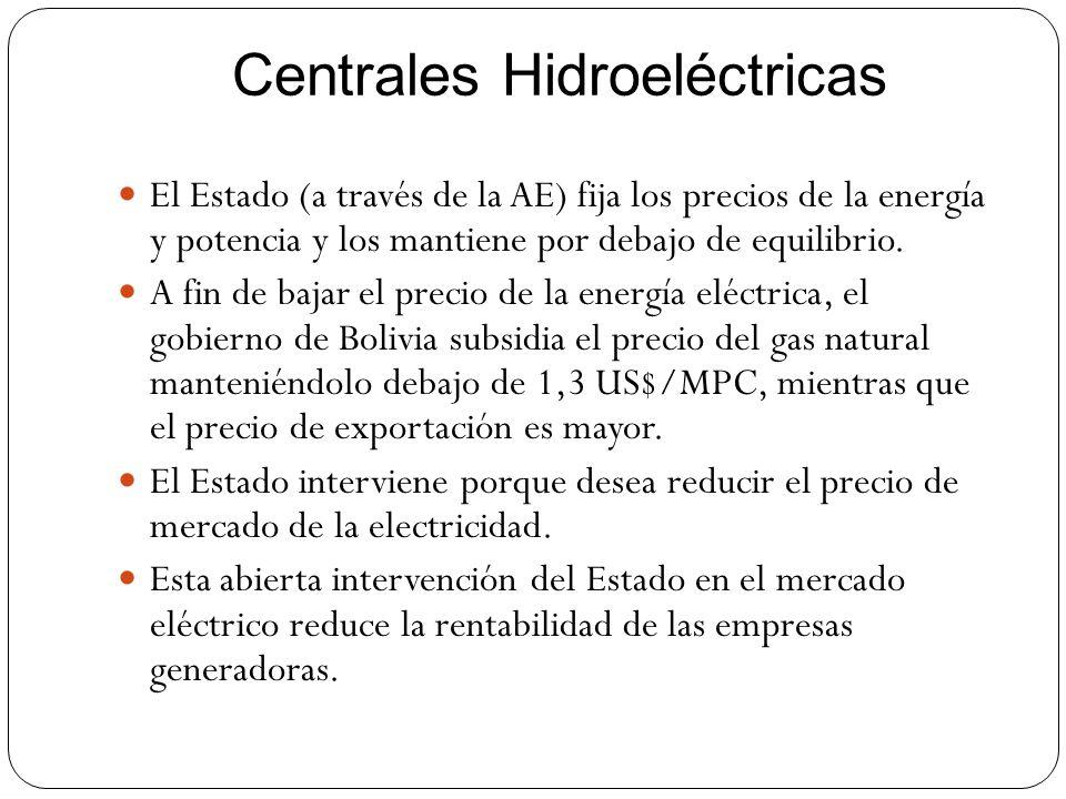 Centrales Hidroeléctricas El Estado (a través de la AE) fija los precios de la energía y potencia y los mantiene por debajo de equilibrio. A fin de ba