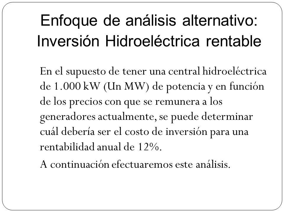 Enfoque de análisis alternativo: Inversión Hidroeléctrica rentable En el supuesto de tener una central hidroeléctrica de 1.000 kW (Un MW) de potencia