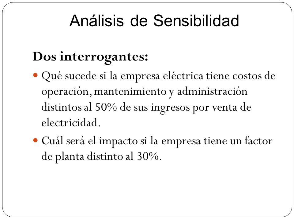 Análisis de Sensibilidad Dos interrogantes: Qué sucede si la empresa eléctrica tiene costos de operación, mantenimiento y administración distintos al
