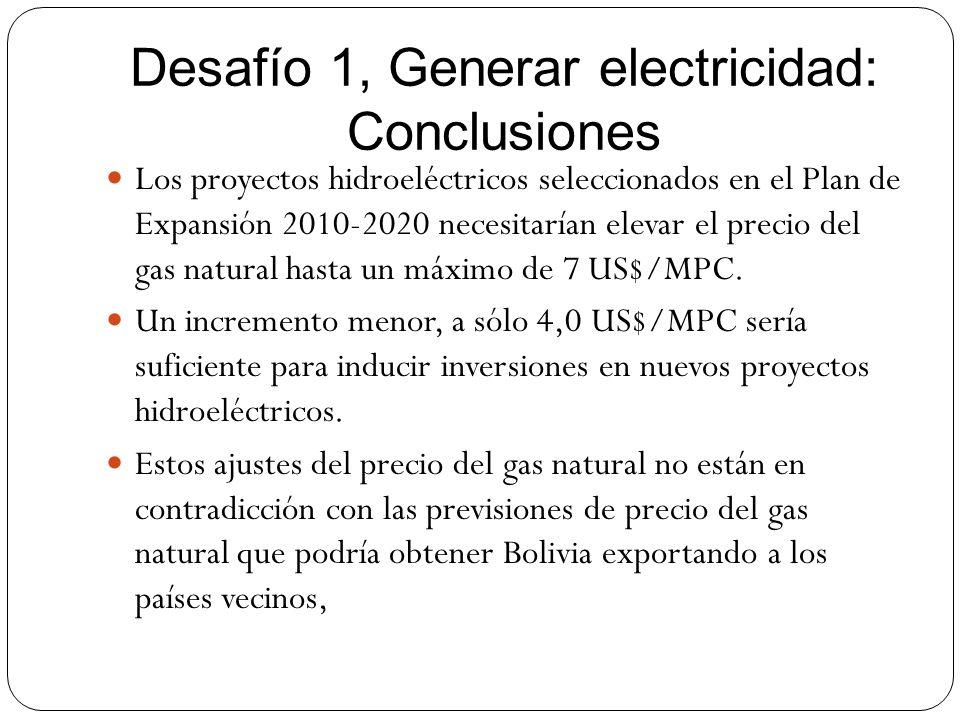 Desafío 1, Generar electricidad: Conclusiones Los proyectos hidroeléctricos seleccionados en el Plan de Expansión 2010-2020 necesitarían elevar el pre
