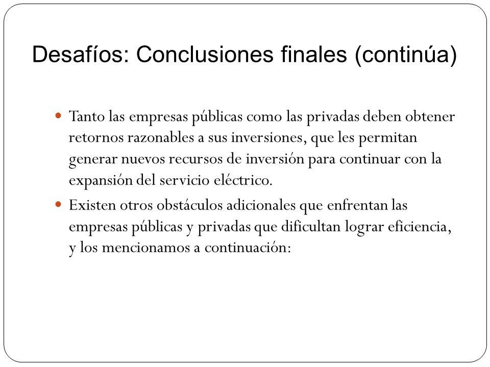 Desafíos: Conclusiones finales (continúa) Tanto las empresas públicas como las privadas deben obtener retornos razonables a sus inversiones, que les p
