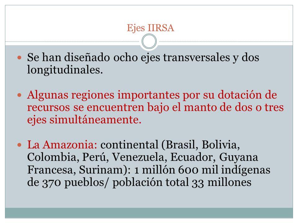 Ejes IIRSA Se han diseñado ocho ejes transversales y dos longitudinales. Algunas regiones importantes por su dotación de recursos se encuentren bajo e