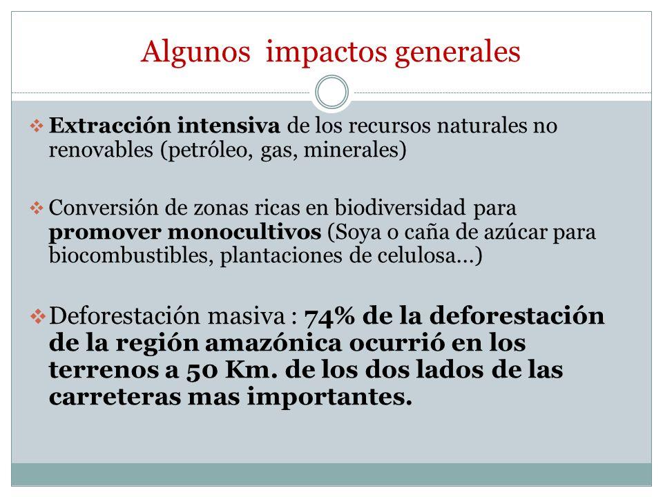 Algunos impactos generales Extracción intensiva de los recursos naturales no renovables (petróleo, gas, minerales) Conversión de zonas ricas en biodiv
