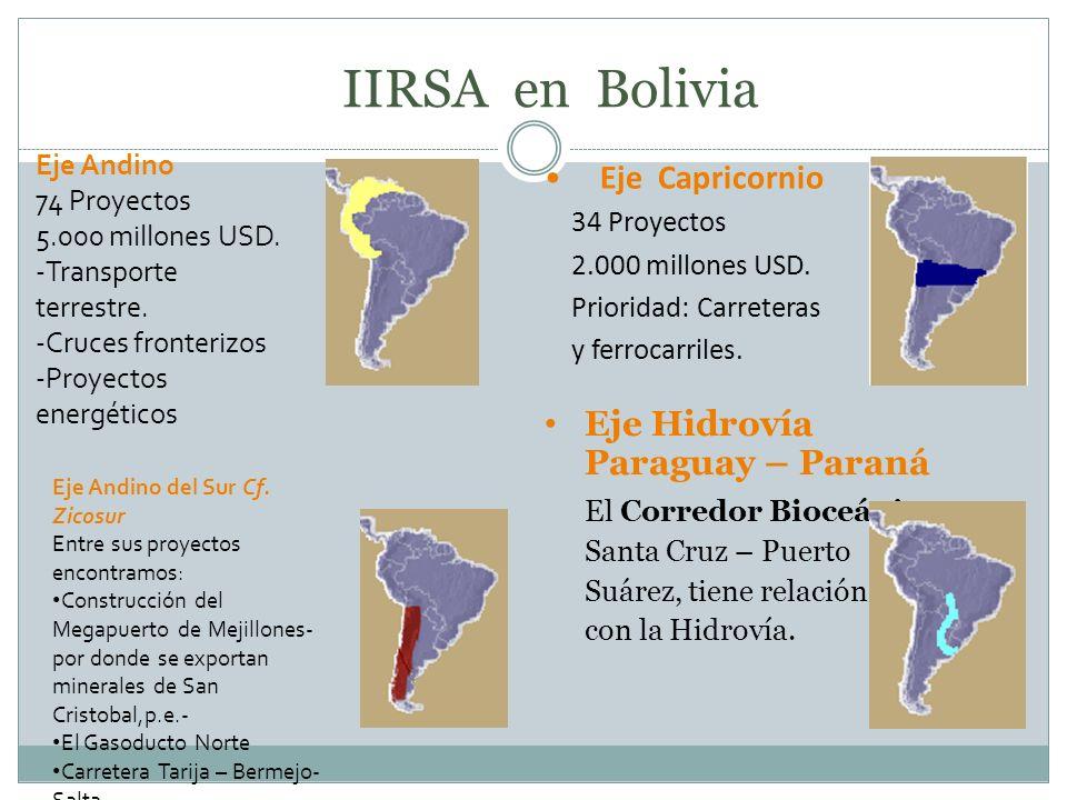 IIRSA en Bolivia Eje Hidrovía Paraguay – Paraná El Corredor Bioceánico Santa Cruz – Puerto Suárez, tiene relación con la Hidrovía. Eje Capricornio 34