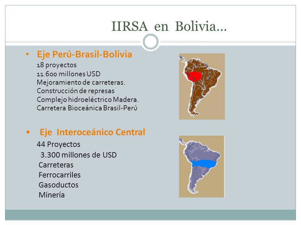 Eje Perú-Brasil-Bolivia 18 proyectos 11.600 millones USD Mejoramiento de carreteras. Construcción de represas Complejo hidroeléctrico Madera. Carreter