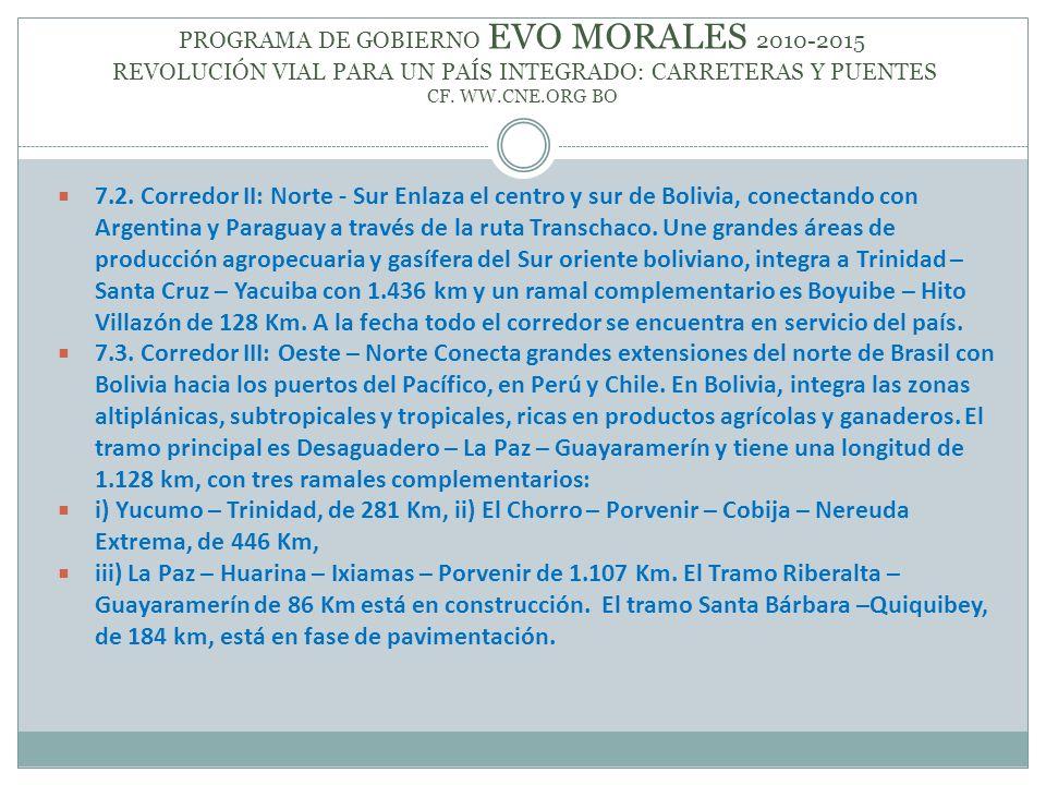 PROGRAMA DE GOBIERNO EVO MORALES 2010-2015 REVOLUCIÓN VIAL PARA UN PAÍS INTEGRADO: CARRETERAS Y PUENTES CF. WW.CNE.ORG BO 7.2. Corredor II: Norte - Su