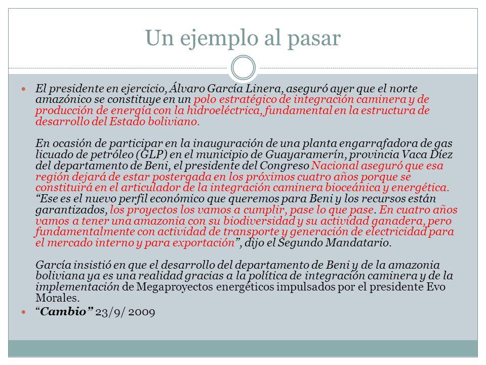 Un ejemplo al pasar El presidente en ejercicio, Álvaro García Linera, aseguró ayer que el norte amazónico se constituye en un polo estratégico de inte