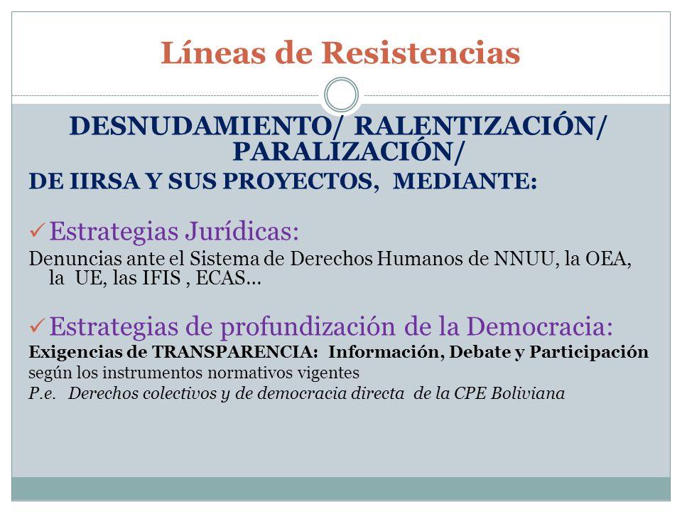 Líneas de Resistencias DESNUDAMIENTO/ RALENTIZACIÓN/ PARALIZACIÓN/ DE IIRSA Y SUS PROYECTOS, MEDIANTE: Estrategias Jurídicas: Denuncias ante el Sistem