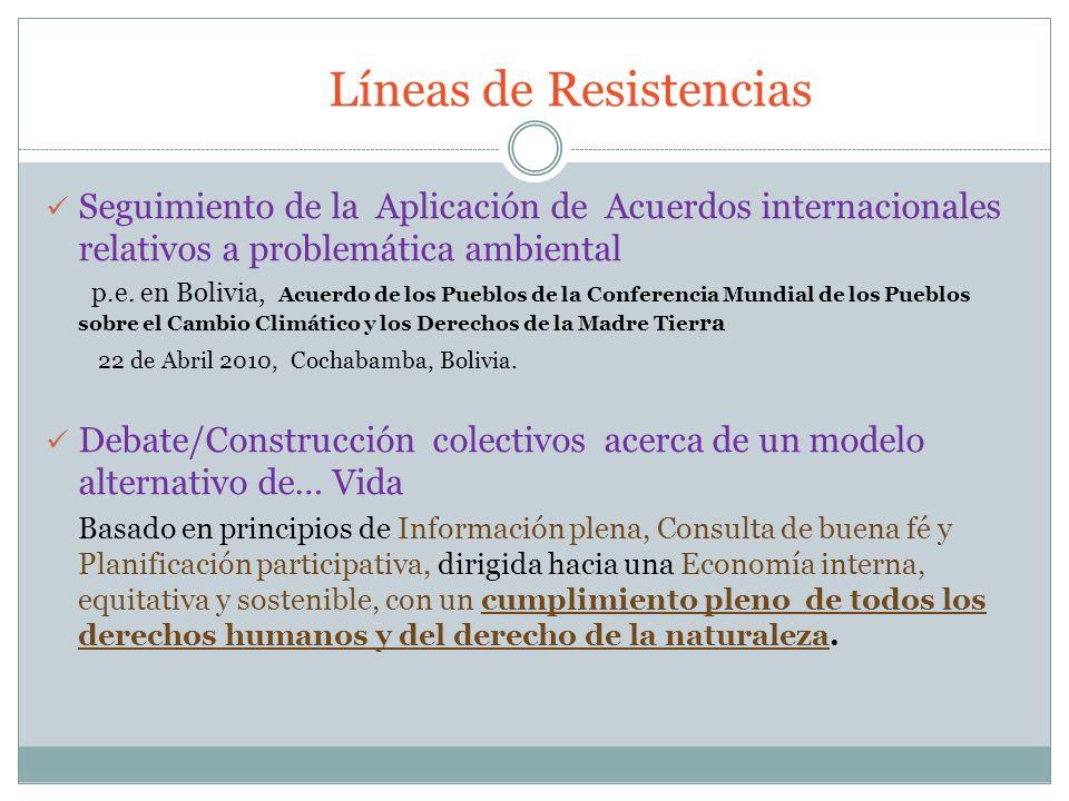 Líneas de Resistencias Seguimiento de la Aplicación de Acuerdos internacionales relativos a problemática ambiental p.e. en Bolivia, Acuerdo de los Pue