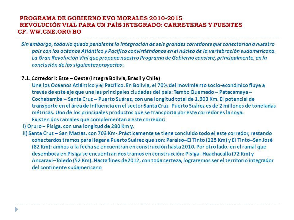 PROGRAMA DE GOBIERNO EVO MORALES 2010-2015 REVOLUCIÓN VIAL PARA UN PAÍS INTEGRADO: CARRETERAS Y PUENTES CF. WW.CNE.ORG BO Sin embargo, todavía queda p