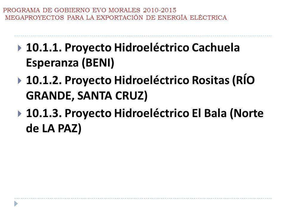 PROGRAMA DE GOBIERNO EVO MORALES 2010-2015 MEGAPROYECTOS PARA LA EXPORTACIÓN DE ENERGÍA ELÉCTRICA 10.1.1. Proyecto Hidroeléctrico Cachuela Esperanza (