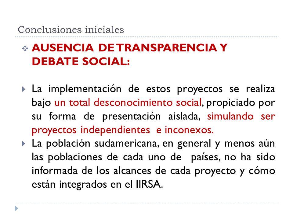 Conclusiones iniciales AUSENCIA DE TRANSPARENCIA Y DEBATE SOCIAL: La implementación de estos proyectos se realiza bajo un total desconocimiento social