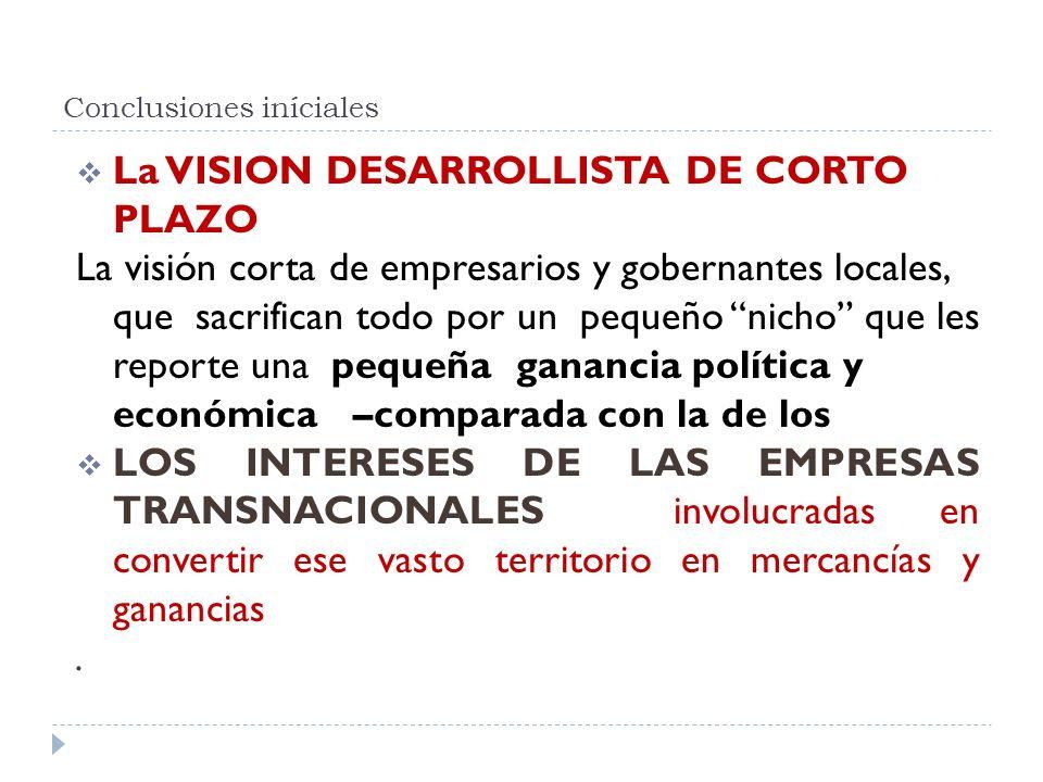 Conclusiones iníciales La VISION DESARROLLISTA DE CORTO PLAZO La visión corta de empresarios y gobernantes locales, que sacrifican todo por un pequeño