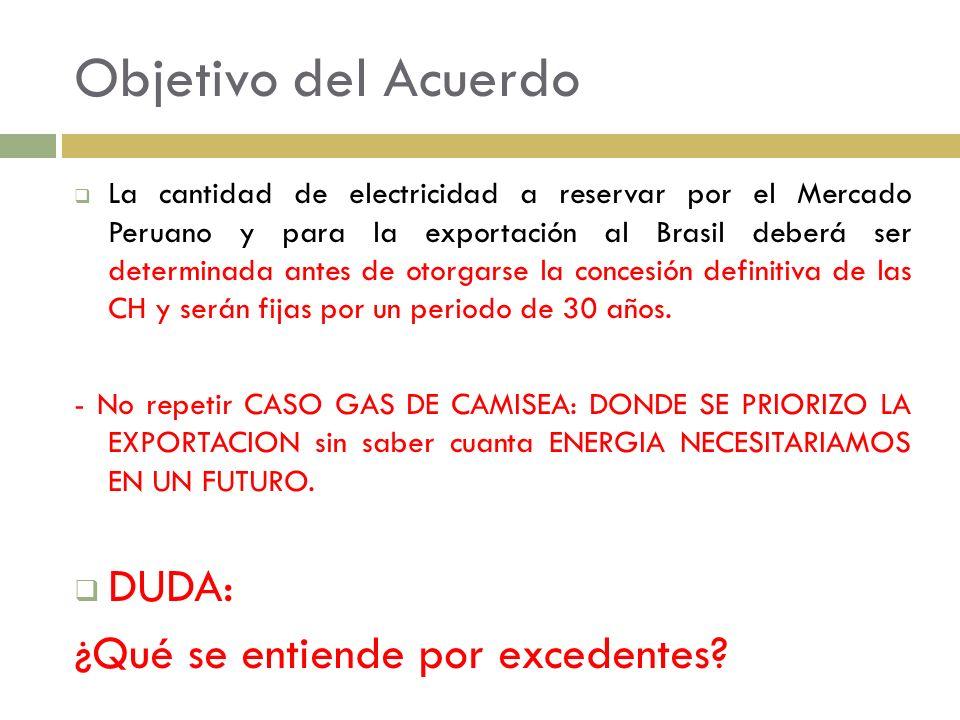 Objetivo del Acuerdo La cantidad de electricidad a reservar por el Mercado Peruano y para la exportación al Brasil deberá ser determinada antes de oto