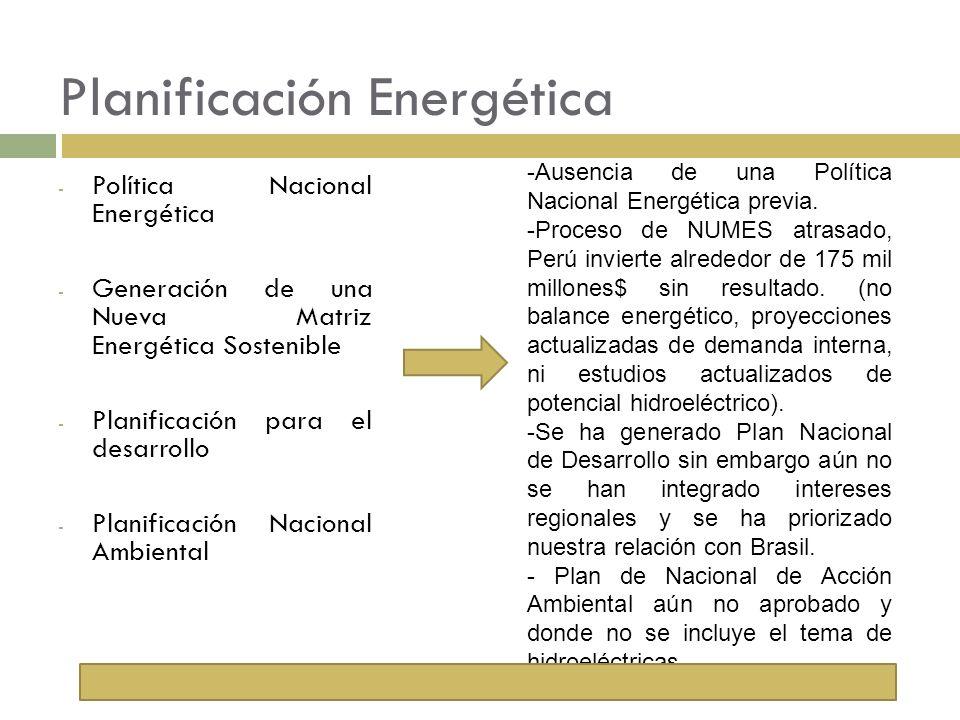 Planificación Energética - Política Nacional Energética - Generación de una Nueva Matriz Energética Sostenible - Planificación para el desarrollo - Pl