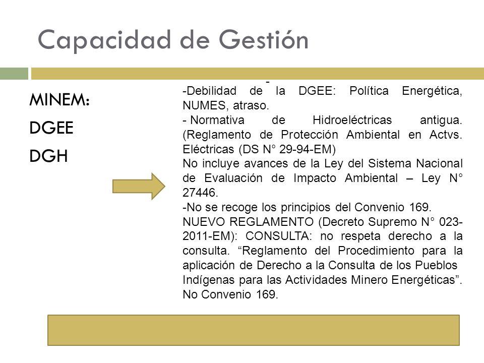 Capacidad de Gestión MINEM: DGEE DGH - -Debilidad de la DGEE: Política Energética, NUMES, atraso. - Normativa de Hidroeléctricas antigua. (Reglamento