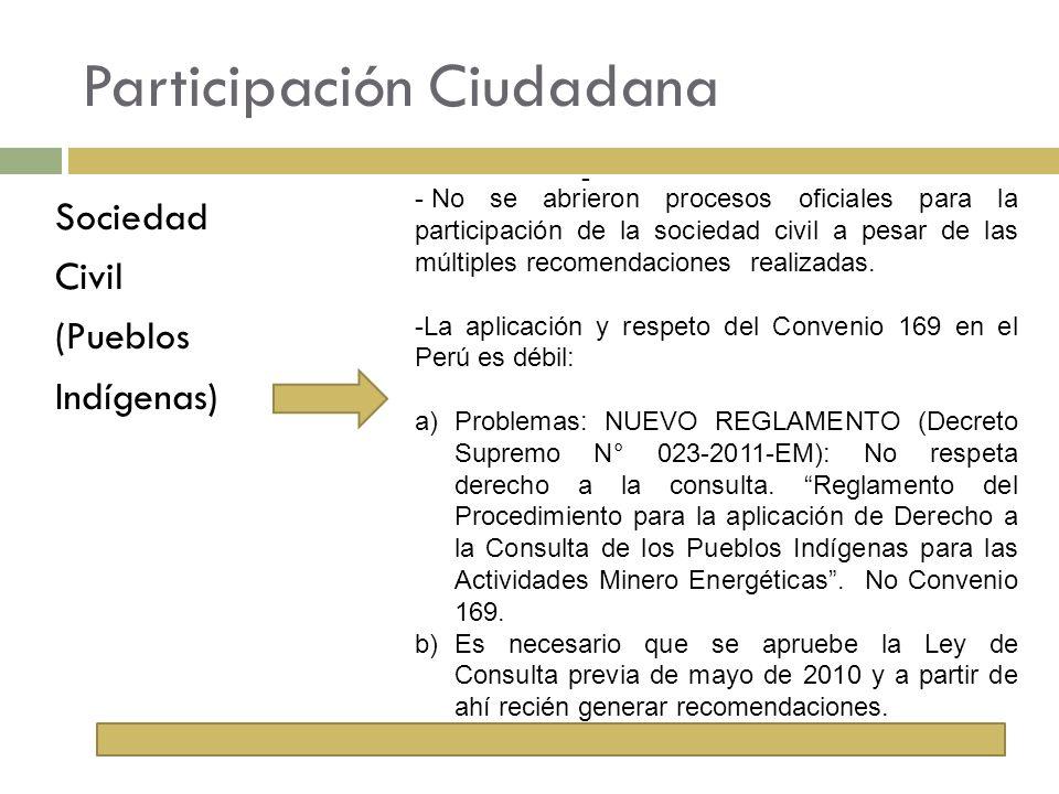 Participación Ciudadana Sociedad Civil (Pueblos Indígenas) - - No se abrieron procesos oficiales para la participación de la sociedad civil a pesar de