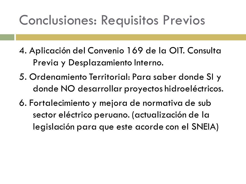 Conclusiones: Requisitos Previos 4. Aplicación del Convenio 169 de la OIT. Consulta Previa y Desplazamiento Interno. 5. Ordenamiento Territorial: Para