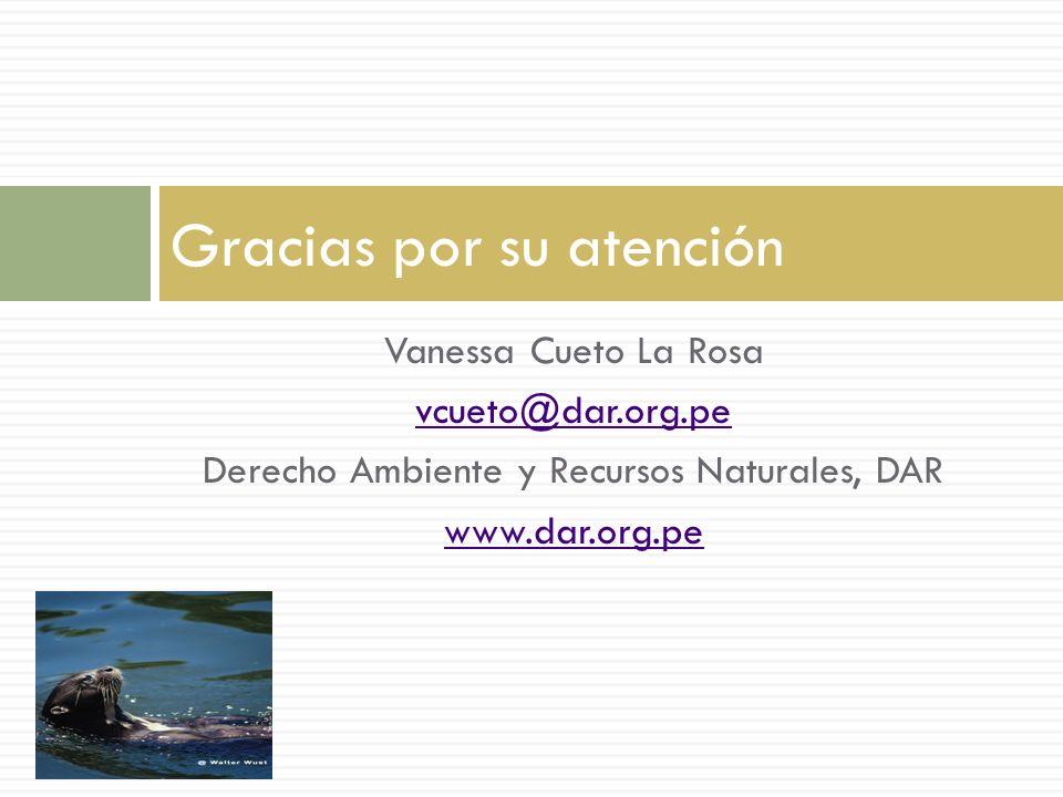 Vanessa Cueto La Rosa vcueto@dar.org.pe Derecho Ambiente y Recursos Naturales, DAR www.dar.org.pe Gracias por su atención
