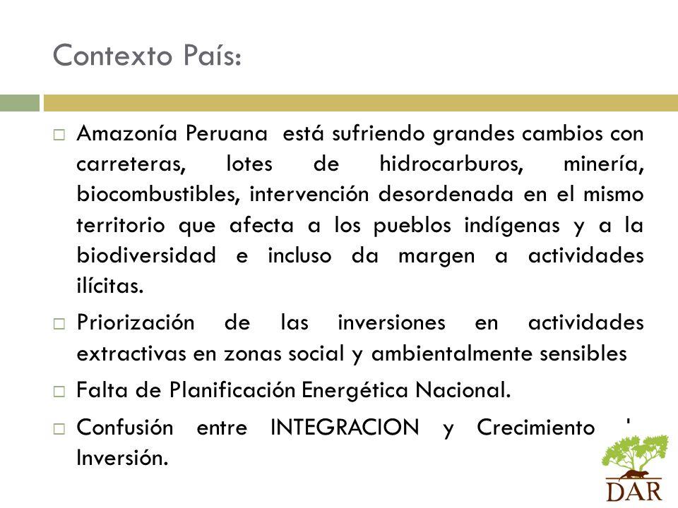 Contexto País: Amazonía Peruana está sufriendo grandes cambios con carreteras, lotes de hidrocarburos, minería, biocombustibles, intervención desorden