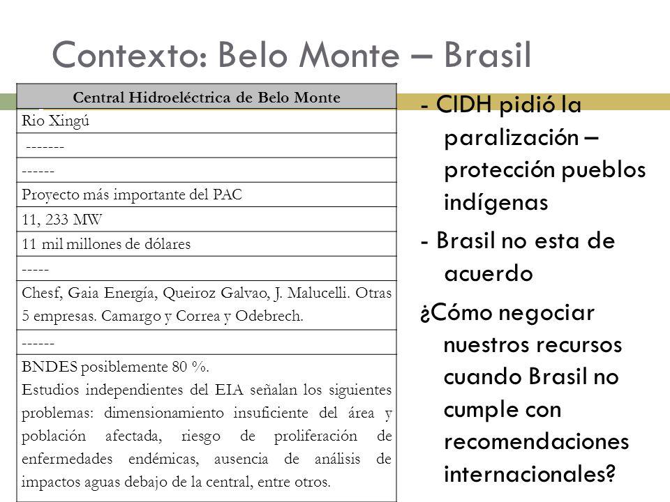Contexto: Belo Monte – Brasil - CIDH pidió la paralización – protección pueblos indígenas - Brasil no esta de acuerdo ¿Cómo negociar nuestros recursos