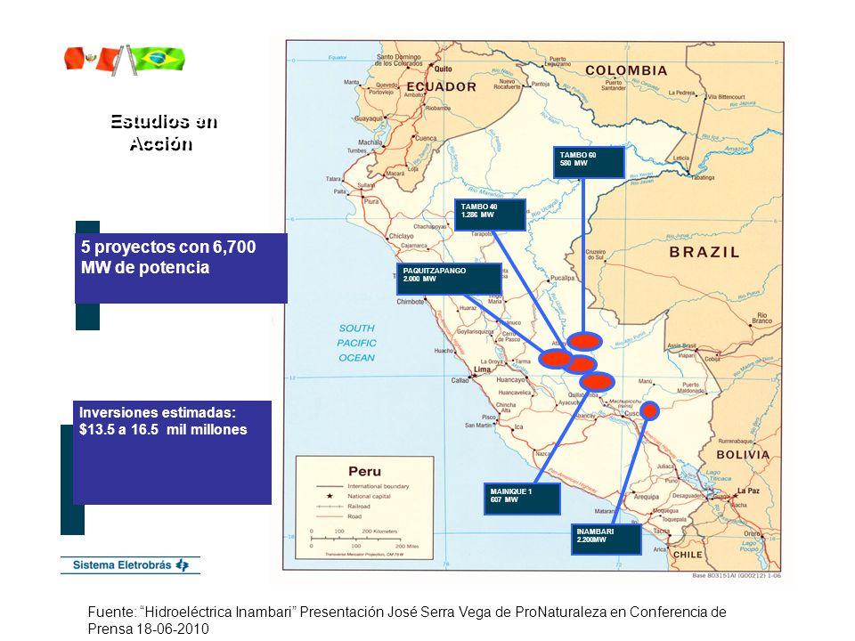 Estudios en Acción Estudios en Acción 5 proyectos con 6,700 MW de potencia TAMBO 60 580 MW TAMBO 40 1.286 MW PAQUITZAPANGO 2.000 MW MAINIQUE 1 607 MW