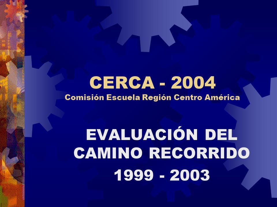 CERCA - 2004 Comisión Escuela Región Centro América EVALUACIÓN DEL CAMINO RECORRIDO 1999 - 2003