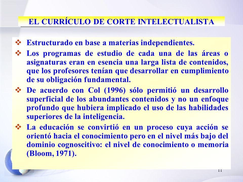 11 EL CURRÍCULO DE CORTE INTELECTUALISTA Estructurado en base a materias independientes. Los programas de estudio de cada una de las áreas o asignatur
