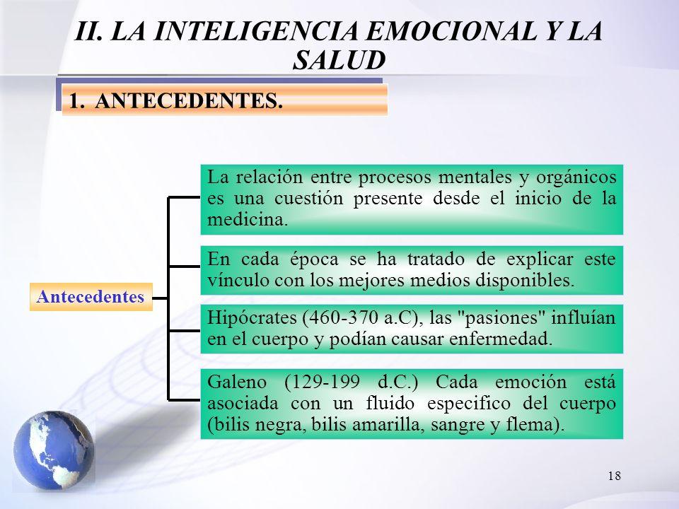 18 II. LA INTELIGENCIA EMOCIONAL Y LA SALUD 1.ANTECEDENTES. Antecedentes La relación entre procesos mentales y orgánicos es una cuestión presente desd