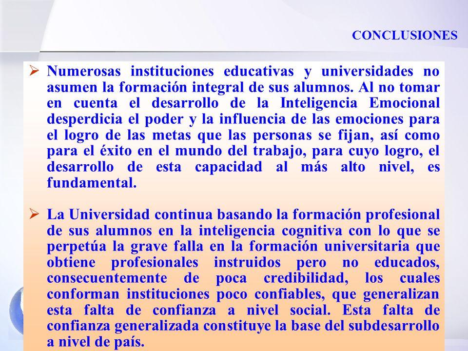 46 Numerosas instituciones educativas y universidades no asumen la formación integral de sus alumnos. Al no tomar en cuenta el desarrollo de la Inteli