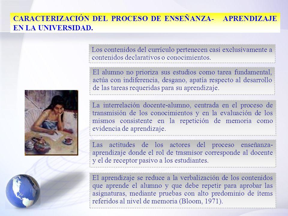 5 CARACTERIZACIÓN DEL PROCESO DE ENSEÑANZA- APRENDIZAJE EN LA UNIVERSIDAD. Los contenidos del currículo pertenecen casi exclusivamente a contenidos de