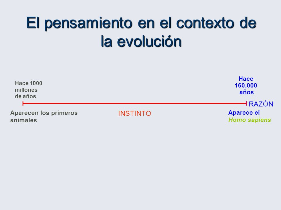 RAZÓN Hace 1000 millones de años Aparecen los primeros animales Hace 160,000 años Aparece el Homo sapiens INSTINTO El pensamiento en el contexto de la evolución