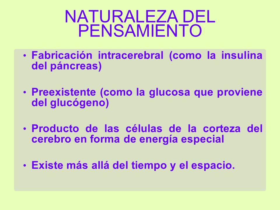 NATURALEZA DEL PENSAMIENTO Fabricación intracerebral (como la insulina del páncreas) Preexistente (como la glucosa que proviene del glucógeno) Producto de las células de la corteza del cerebro en forma de energía especial Existe más allá del tiempo y el espacio.