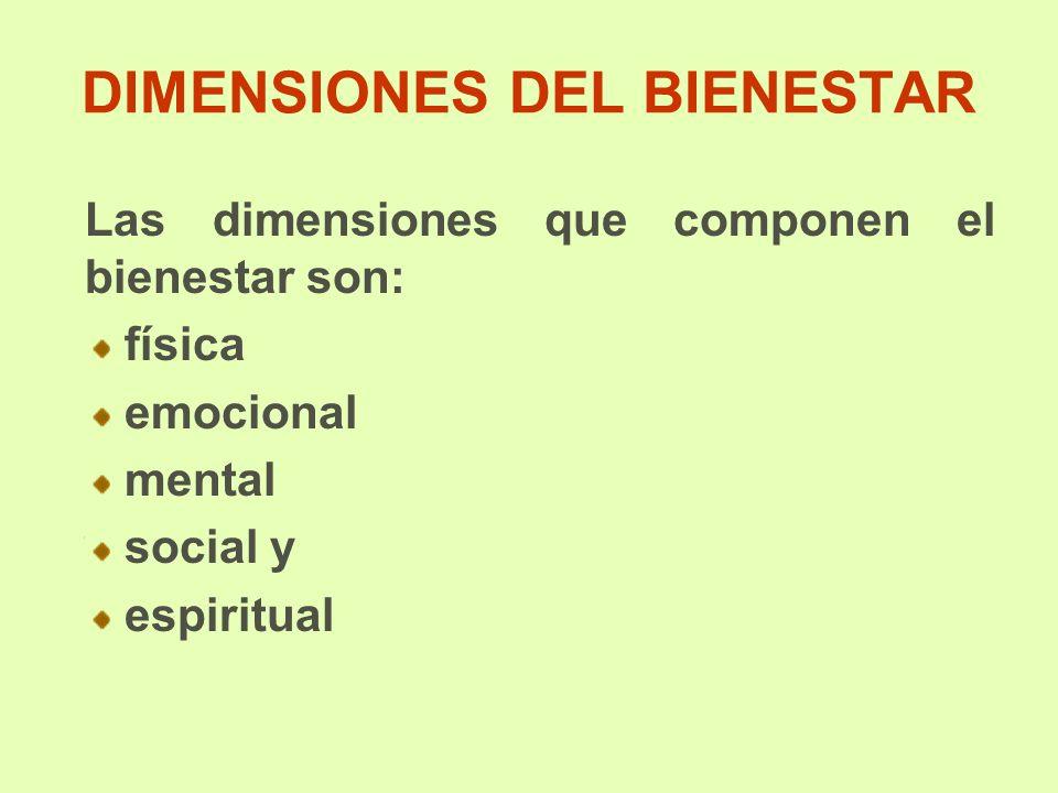 DIMENSIONES DEL BIENESTAR Las dimensiones que componen el bienestar son: física emocional mental social y espiritual