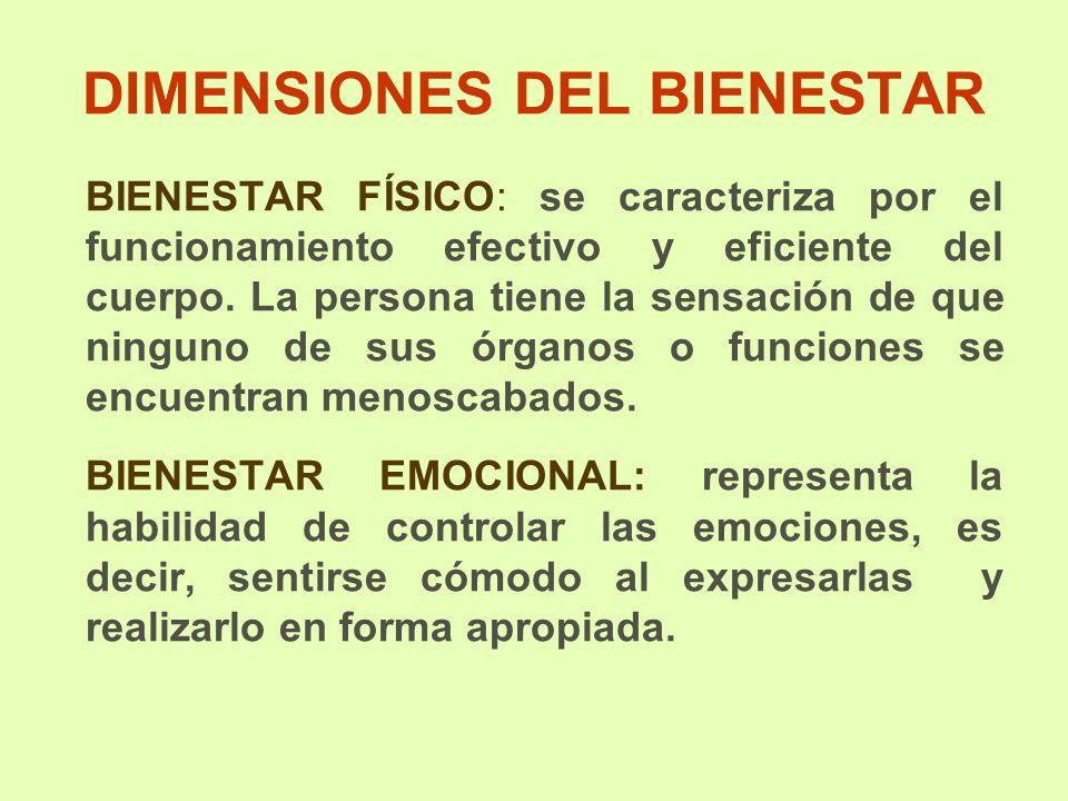 DIMENSIONES DEL BIENESTAR BIENESTAR FÍSICO: se caracteriza por el funcionamiento efectivo y eficiente del cuerpo. La persona tiene la sensación de que