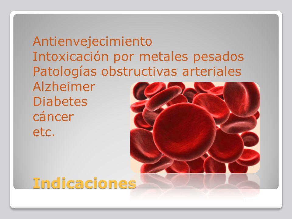 Indicaciones Antienvejecimiento Intoxicación por metales pesados Patologías obstructivas arteriales Alzheimer Diabetes cáncer etc. Indicaciones