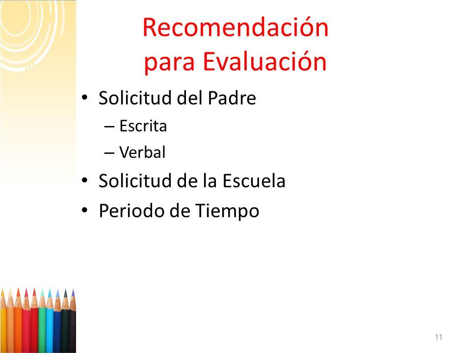 Recomendación para Evaluación Solicitud del Padre – Escrita – Verbal Solicitud de la Escuela Periodo de Tiempo 11