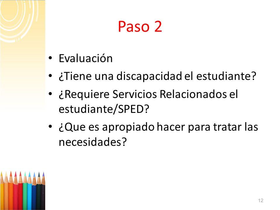Paso 2 Evaluación ¿Tiene una discapacidad el estudiante? ¿Requiere Servicios Relacionados el estudiante/SPED? ¿Que es apropiado hacer para tratar las