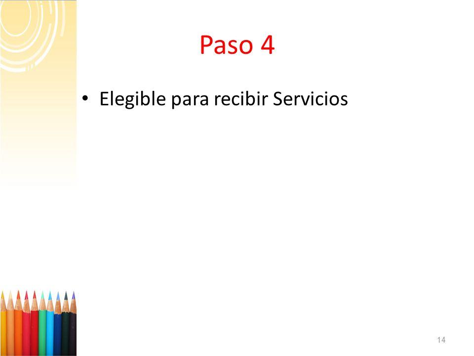 Paso 4 Elegible para recibir Servicios 14