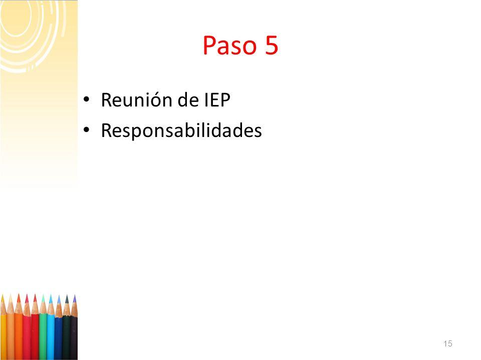 Paso 5 Reunión de IEP Responsabilidades 15