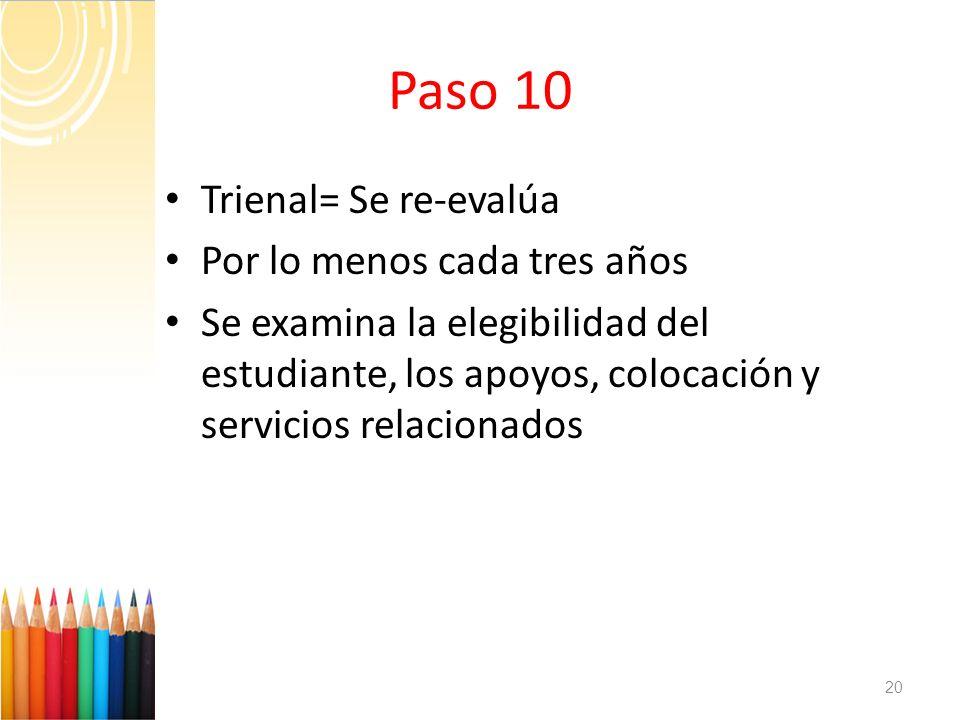 Paso 10 Trienal= Se re-evalúa Por lo menos cada tres años Se examina la elegibilidad del estudiante, los apoyos, colocación y servicios relacionados 2