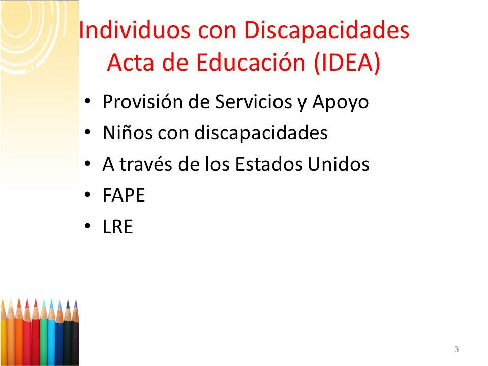 Provisión de Servicios y Apoyo Niños con discapacidades A través de los Estados Unidos FAPE LRE 3 Individuos con Discapacidades Acta de Educación (IDE