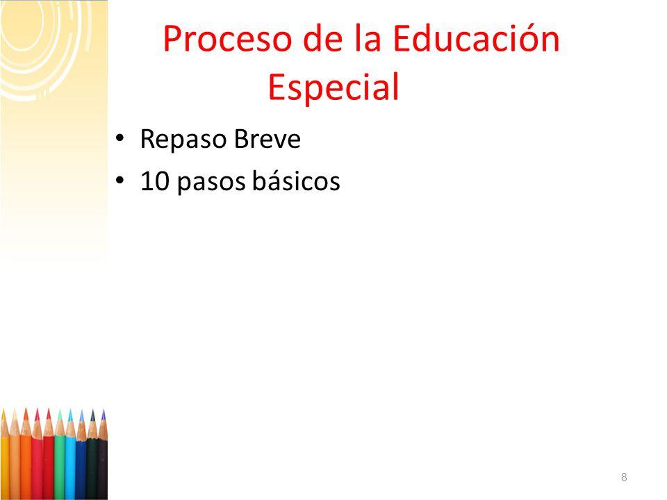Proceso de la Educación Especial Repaso Breve 10 pasos básicos 8