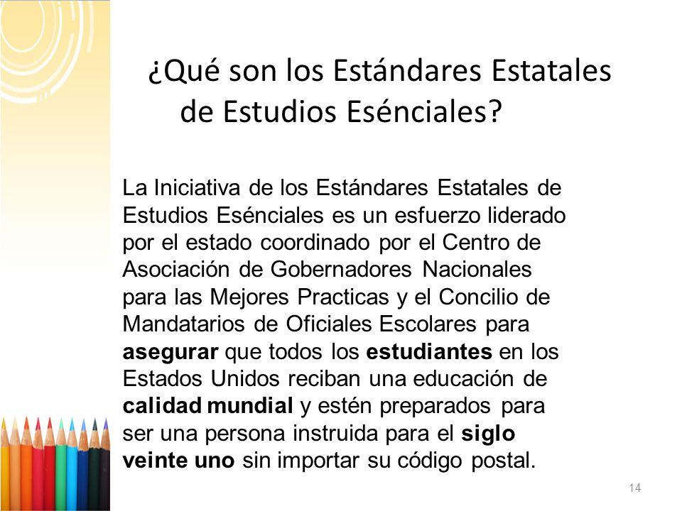 ¿ ¿Qué son los Estándares Estatales de Estudios Esénciales.