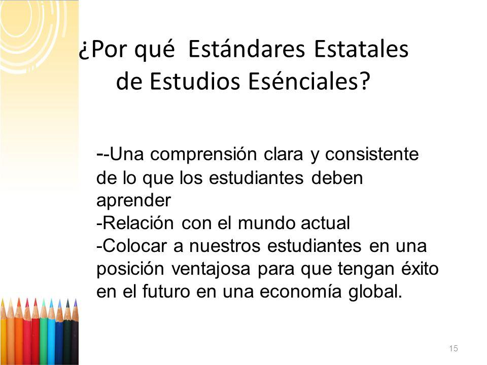 ¿Por qué Estándares Estatales de Estudios Esénciales.