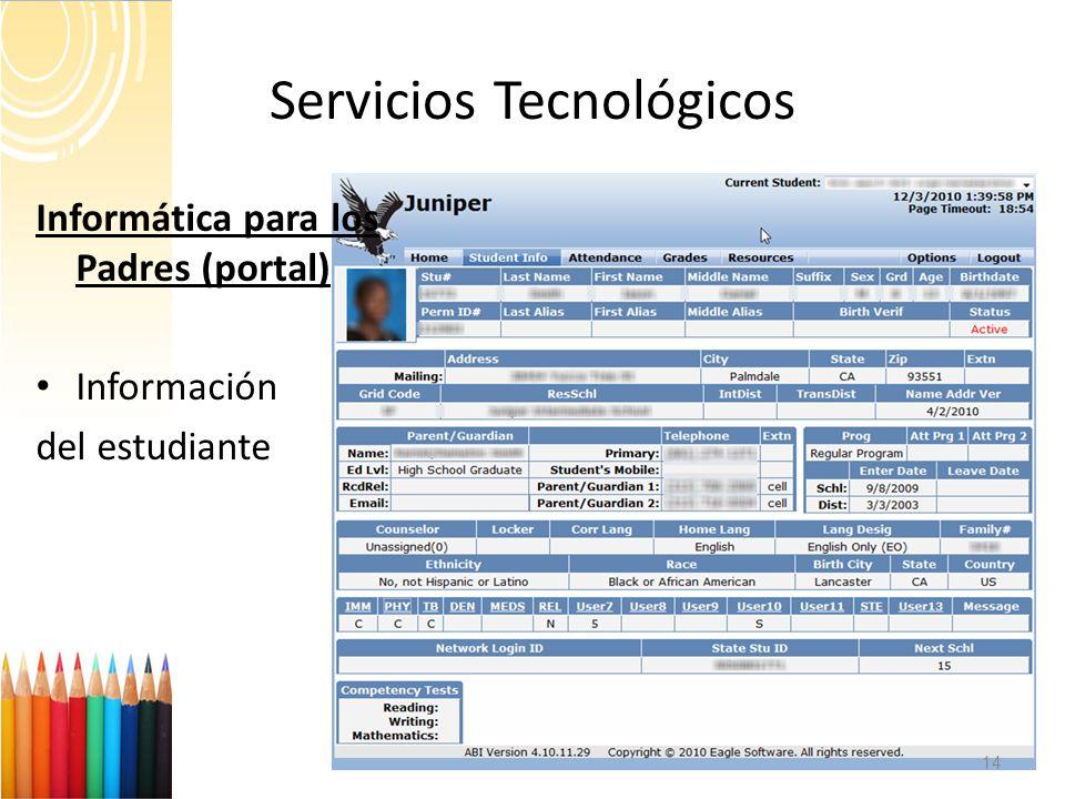 Servicios Tecnológicos 14 Informática para los Padres (portal) Información del estudiante